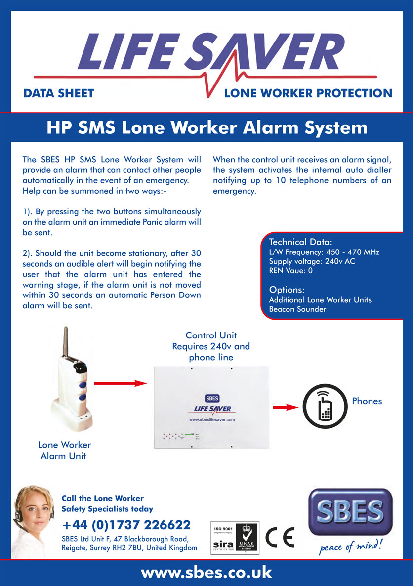 SBES LifeSaver HP SMS Lone Worker Alarm System