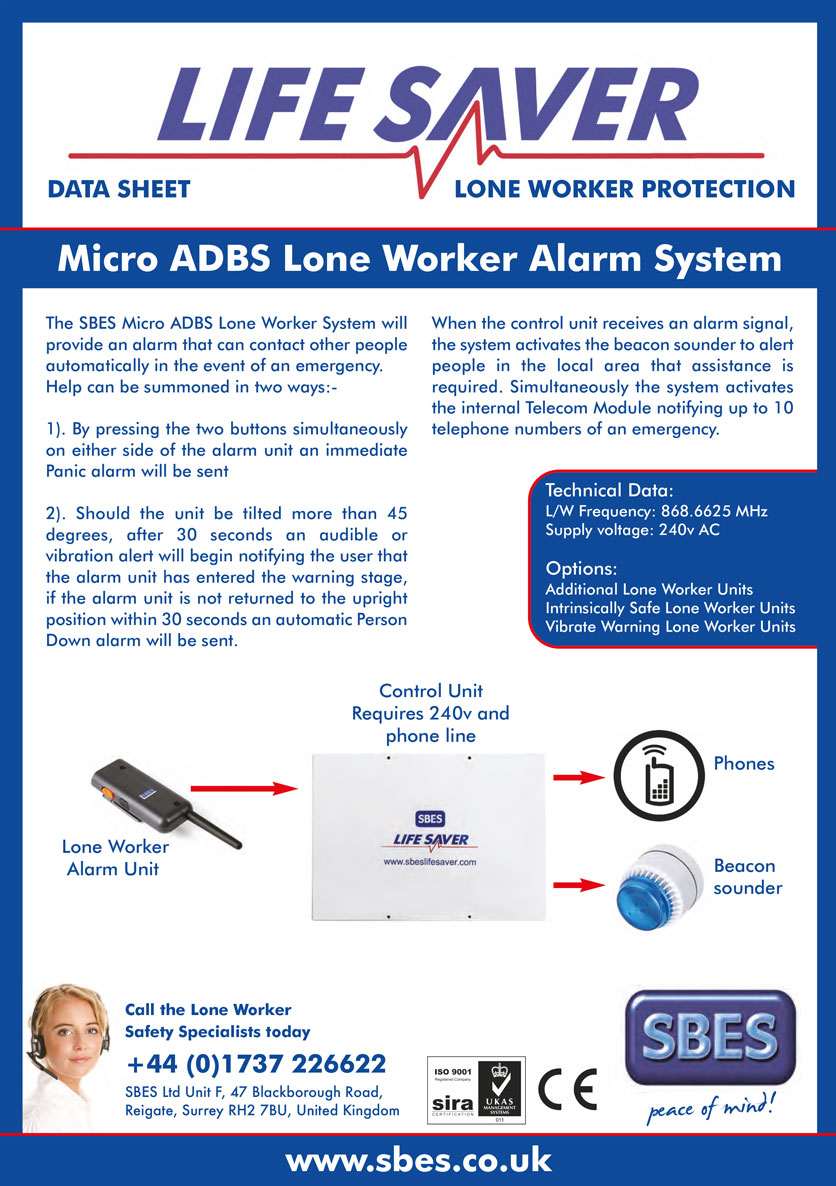 SBES LifeSaver Micro ADBS Lone Worker Alarm System