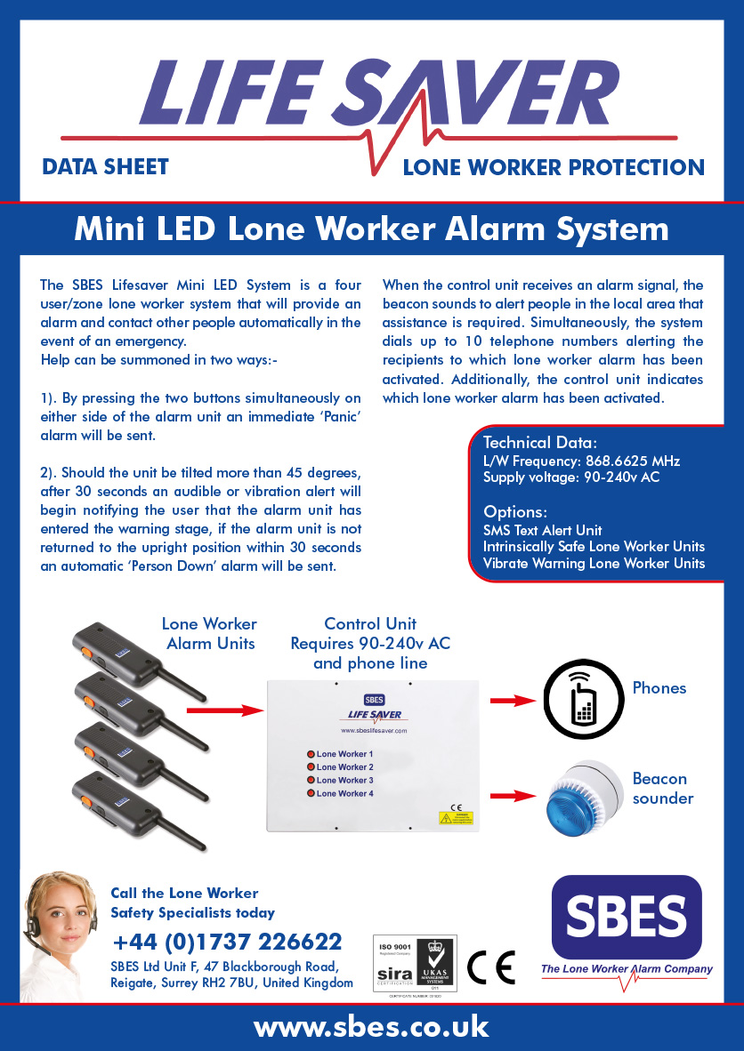 SBES Mini LED Lone Worker Alarm System